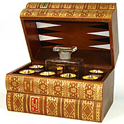 "SOLD Fine Vintage French ""Antique Leather-Bound Book"" Liquor Tantalus, Box: Decanter"