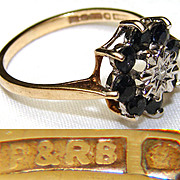 SOLD Lovely Antique to Vintage English Hallmarked 9k Yellow Gold & Sapphire Ring. 6.5 Chil