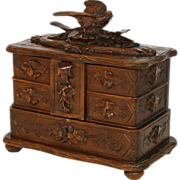 SOLD Fine Antique Black Forest Carved 3-Tier Jewelry Box, Foliage & Bird Figural Top
