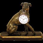 "SOLD Antique Victorian Era Bronze Animalier Style 7"" Whippet or Dog Sculpture, Pocket Wat"