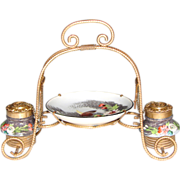 """SALE Antique French Napoleon III 8"""" Double Inkwell or Inkstand, HP Porcelain & Gilt O"""