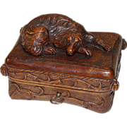 SOLD Fabulous Antique Black Forest Carved Jewelry Casket, Rare Dog on Tasseled Pillow