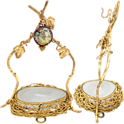 "SOLD Antique French Opaline ""Egg"" Vide Poche, Gilt Bronze Wire Nest, Pocket Watch or"