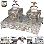 SOLD RARE Museum Quality Antique French Sterling Silver & Cut Glass or Crystal 3pc Double