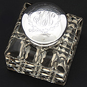 "SALE LG Antique American Sterling Silver & Brilliant Cut Crystal 3.5"" Inkwell, Facet"