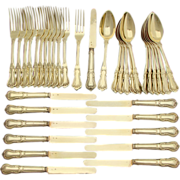 SALE Stunning 36pc Antique French 18k Gold (Vermeil) on Sterling Silver Flatware Set, Dessert