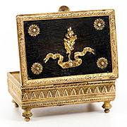 SALE Antique French Dore Bronze 2nd Empire Stamps Box, Napoleon III Era, c.1850s