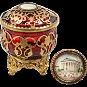 SALE Antique French Cranberry Glass & Ormolu Powder Jar, Bonboniere, Eglomise View of Madelein