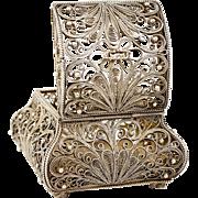 SALE Antique Russian Silver or Silver Plated Filagree Casket, Box, Grand Tour Souvenir