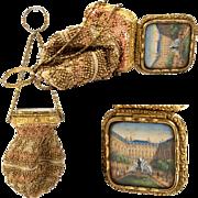 SALE Antique c.1850 Paris Souvenir Chatelaine Bead Purse, Bag, Eglomise View: Palais Royal, ..