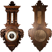 SALE Fine Antique Carved Wood Cased Wall Aneroid Barometer, Thermometer, Fruit, Shell Motif
