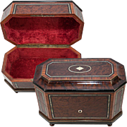 """SALE Tantalus? Antique French Napoleon III Era Tall Box, 12"""" Casket, Stationery Chest or"""