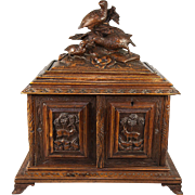 SALE Superb Antique Black Forest Cigar Chest, Not Humidor, Presenter with Carved Game Birds, .
