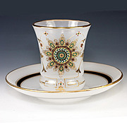 SALE Elegant Antique French Opaline Glass & Jeweled Enamel Wine Cup, Saucer