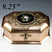 "SALE RARE Antique Heavy Italian Jewelry Box, 9.25"" Casket, Pietra Dura Plaque, c.1840-60,"