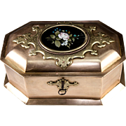 "SALE RARE Antique Heavy Italian Jewelry Box, 9.25"" Casket, Pietra Dura Plaque, c.1840 ..."