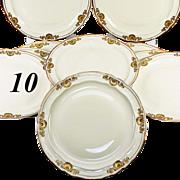 SALE Set: 10 Antique to Vintage French Dinner Plates, Famed Maker: Bernardaud & Cie, Limoges,