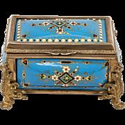SALE Antique French TAHAN Kiln-Fired Enamel Blue Jeweled Jewelry Box, Rectangular Casket