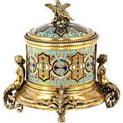 SALE Antique French or Russian Champleve Enamel Box, Casket, Cigar? Server - Superb!