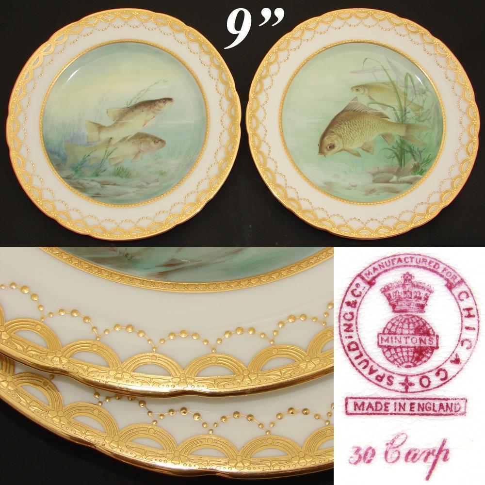 Gorgeous PAIR Antique MINTON 9\  Cabinet or Fish Plate Set HP \u0026 Signed Aquatic & Gorgeous PAIR Antique MINTON 9\