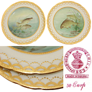 "SALE Gorgeous PAIR of Antique MINTON 9"" Cabinet or Fish Plates, Hand Painted & Signed, Raise"