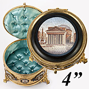 "SALE Antique 4"" Micro Mosaic Grand Tour Souvenir Jewelry Box, Enamel Casket: The Pantheon"