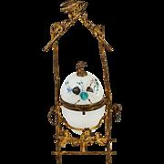 SALE Antique French Opaline Egg Jewelry Casket, Enamel and Bird in Ormolu
