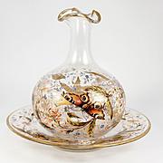 SALE Fine Antique 3-pc French Enamel Glass Set, Pitcher or Carafe, Plates