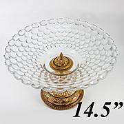"SALE HUGE 14.5"" Diam Antique French Table Centerpiece, Empire Revival, Finest Baccarat Cr"