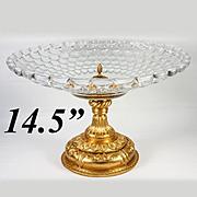 """SALE Massive 14.5"""" Diam Antique French Table Centerpiece, Empire Revival, Finest Baccarat"""