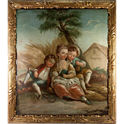 SALE Antique 1800s French Oil Painting, Original Frame, Children in the style of Boucher