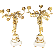 "SALE Antique Pair 14.5"" Tall French Candelabra, 3 Candle Holders (each) Putti and Floral"