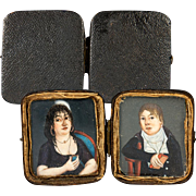 SALE Antique 1700s French HP Portrait Miniature Pair, Couple in Original Shagreen Case, Etui