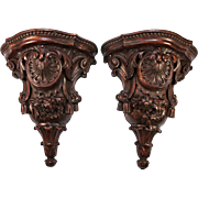 """SALE Fine Large 12.5"""" Tall Pair (2) Antique Hand Carved Wall Shelves, Shelf Set ..."""