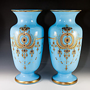 """SALE HUGE 14"""" Antique French Opaline Vase Pair (2), Jeweled, Hand Painted, Gold & Raised"""