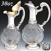 SALE Elegant Antique French Sterling Silver & Cut Glass 30oz Claret Jug, Rococo Styling & Thic