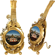 SALE RARE Antique Grand Tour Souvenir Eglomise Pocket Watch Display Stand, a Mandolin: Rome's
