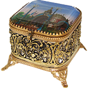 SALE Antique French Eglomise Grand Tour Souvenir Jewelry Box, Casket: 'Porte Monumentale' 1900