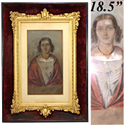 Antique Pastel Portrait in Ornate Gilt Gesso & Wood Frame: H. Muller dated 1848