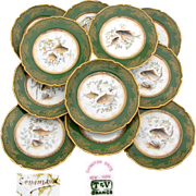 "SALE Superb Antique Limoges 12pc 9"" Fish Plate Set, Green & Raised Gold Enamel Borders, H"