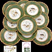 "SALE Superb Antique Limoges 12pc 9"" Fish Plate Set, Green & Raised Gold Enamel Borders, H"