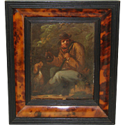 SALE Fabulous Antique Early 1800s Flemish or Dutch Miniature Oil Painting, Hunter with Rifle &