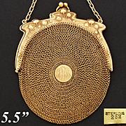 SALE Gorgeous Antique to Vintage Vermeil Sterling Silver Mesh Purse, Handbag, Art Nouveau Flor