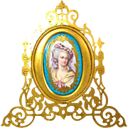 SALE Gorgeous Antique Sevres Porcelain Portrait Plaque in Pierced Bronze Frame, Mme Elisabeth