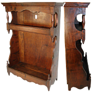 """SALE Antique French 26"""" Tall Wall Cabinet, 1700s, Walnut, Perfect Display or Accent Shelf"""