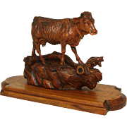 """SALE Delightful & Rare Antique Swiss Black Forest Carved Cow Figure, on 8.5"""" Wood Plinth"""
