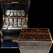 SALE RARE Huge 19th C. English Sterling 15k Gold & Crystal Travel Vanity Set in Coromandel ...