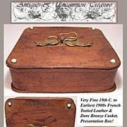 SALE Fine 19th C. French Leather Chocolate/Bon Bon Box, Dore Bronze Bow