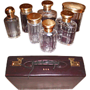 SALE Opulent 1931 London Gilt Sterling Silver Vanity Travel Case, Cordovan Leather