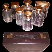SALE Opulent 1931 London Gilt Sterling Silver Vanity Travel Case, Cordovan Leather